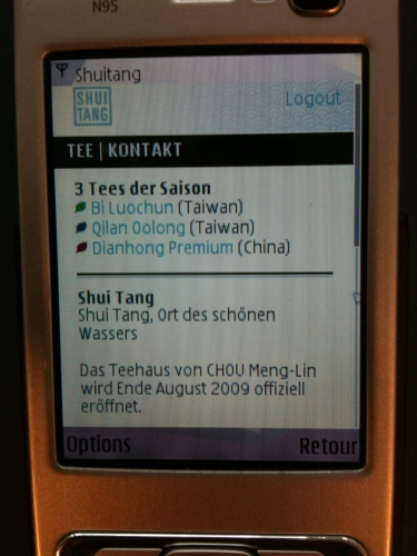 Overview aka Mobile Home Page of Shui Tang