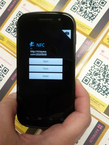 First Pic from Kaywa Reader on Android and NFC/QR Code DokoDare Stickers