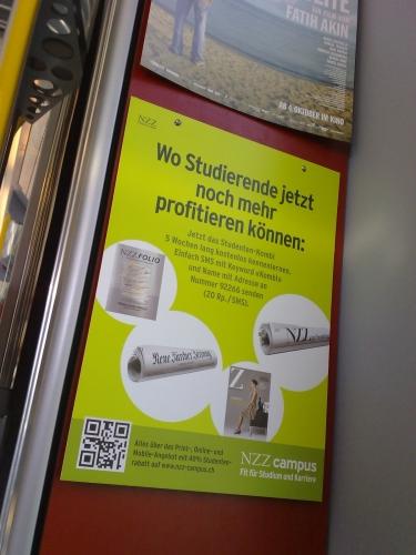 QR Code in Zurich Tram (Shortcode)