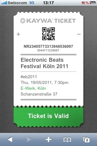 Kaywa Ticket at Electronic Beats Festival in Cologne