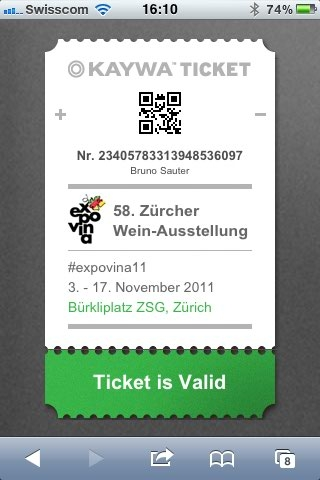 Kaywa Ticket on an iPhone display