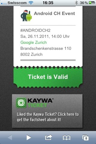 Kaywa Ticket for Android Event