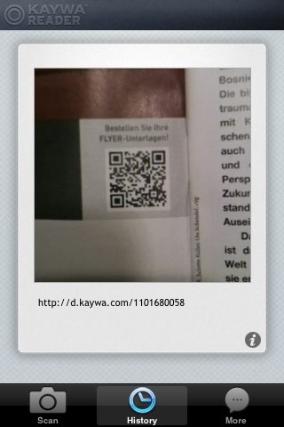 Small QR Code in Kaywa Reader for iPhone