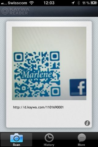 Marlene QR Code in the new Kaywa Reader for iPhone