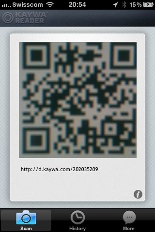 BIG QR CODE in Kaywa Reader for iPhone